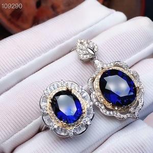 Image 1 - MeiBaPJ parfait saphir pierre gemme ensemble de bijoux 925 en argent Sterling 2 Siut Fine luxe bijoux de mariage pour les femmes