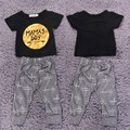 New Fashion Toddler Baby Outfits Clothes Golden Letters Pattern Tops+Pants 2PCS Set