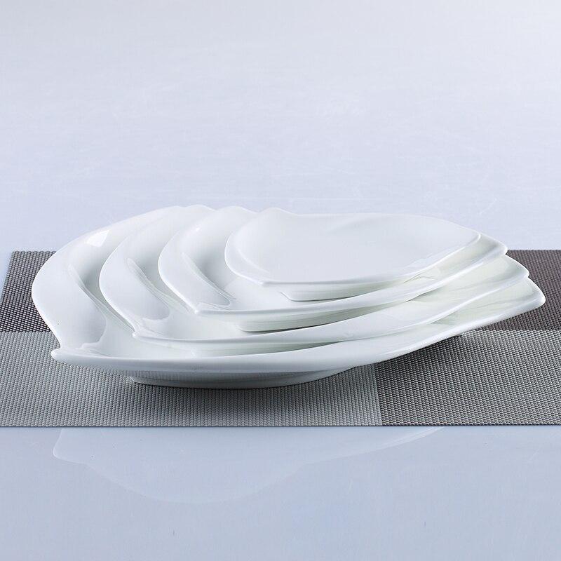 Vaisselle de table irrégulière en porcelaine | Service de table en céramique tourbillon, vaisselle décorative pour le Dessert, la salade, le riz et les nouilles - 5