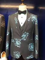 2017(Blazer+Pants+Vest) Fashion Men's Suit Patterns Luxury Casual Men Stage Clothing Vintage Mens Suits Wedding Groom
