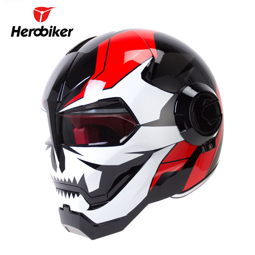 HEROBIKER Motorcycle Helmet Riding Cruiser Chopper Cafe Racer Vintage Retro Capacetes Motorbike Full Face Helmet Moto Casco 22 bobber cafe oldschool chopper