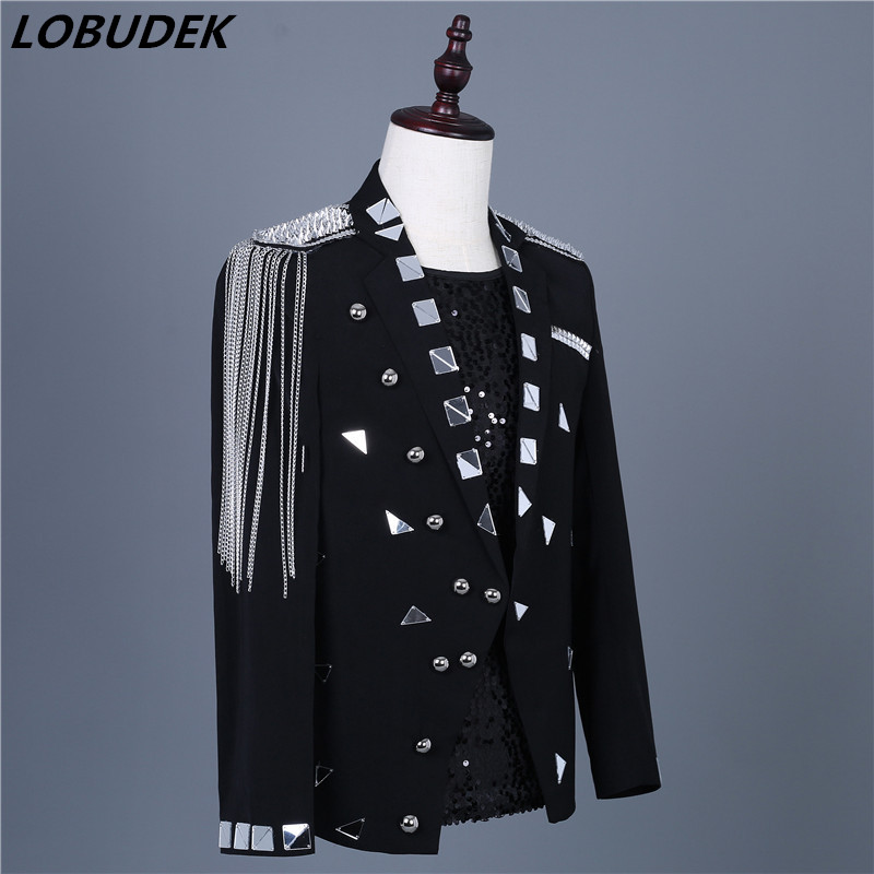 Men's Silver Mirrors Tassels Epaulet Slim Blazers Fashion Suits Jacket Evening Party Host Performance Coat Singer Nightclub Wear