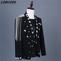 Men's Silver Mirrors Tassels Epaulet Slim Blazers Fashion Suits Jacket Evening Party Host Performance Coat Singer Nightclub Wear