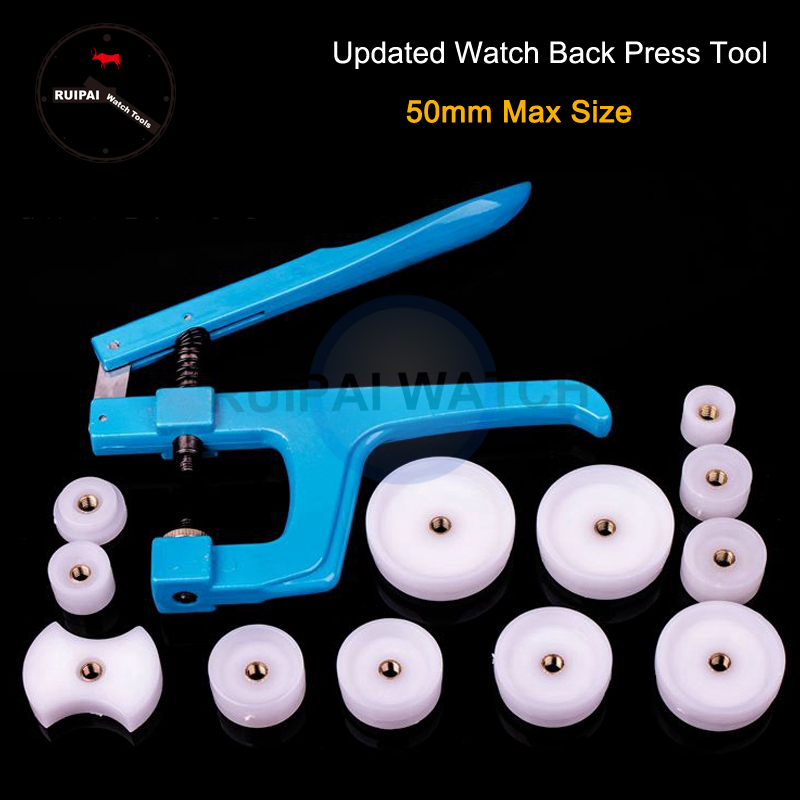 New Watch Tool Hand Held Watch Back Case Press Tool Watch Back Closer Tool With 12pcs Nylon Dies For Watchmaker Watch Repair