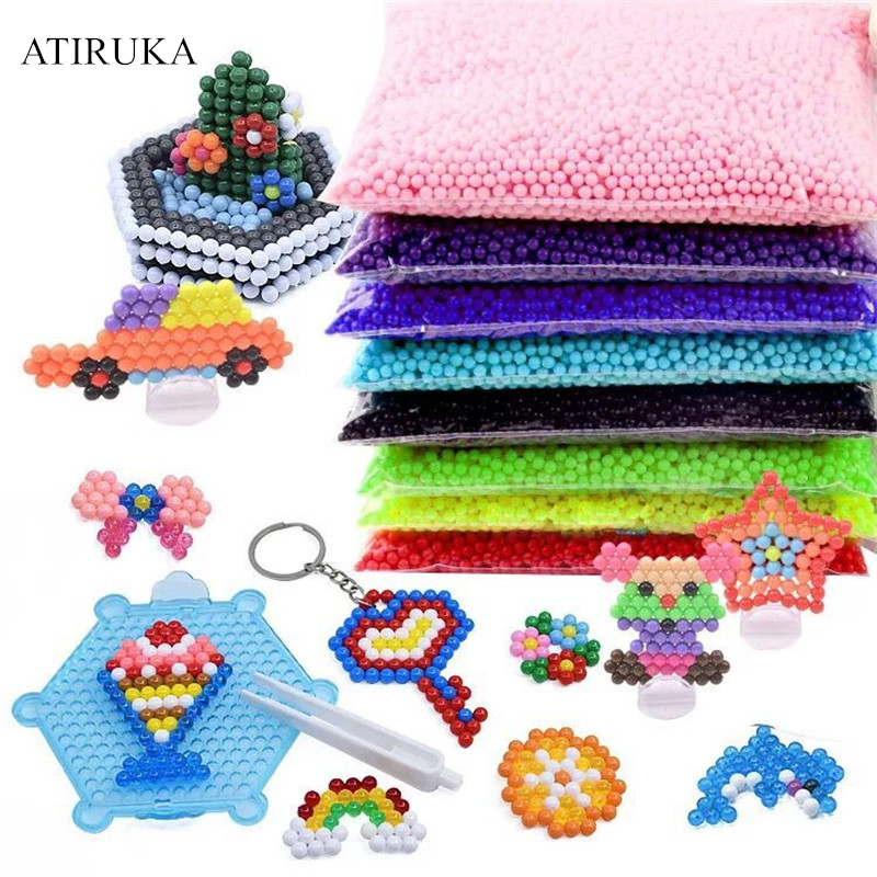 24 Color Water Spray Beads Puzzle 3D Toys For Children Perler Beads Refill Pack Jigsaw Juegos Didacticos Infantiles 200Pcs/Bag