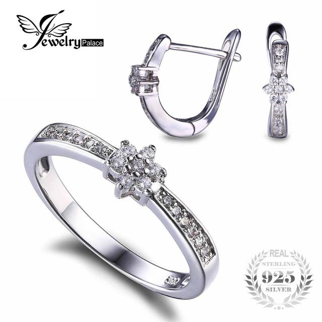 Jewelrypalace 925 flor de plata sterling banda anillo pendiente de clip de la joyería set crystal anillo del pendiente de la boda joyería fina para las mujeres