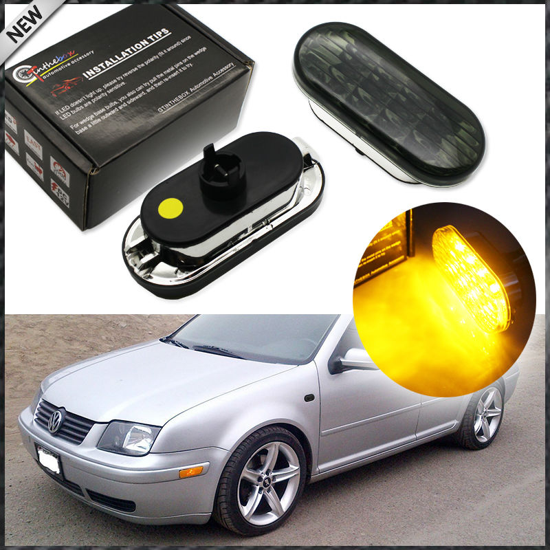 2pcs Euro Style Smoked Lens Amber LED Side Marker Lights For Volkswagen MK4 Golf Jetta Bora B5/B5.5 Passat or Beetle and GTI R32 4pcs 2 red 2 amber hd led fender bed side marker lights smoked lens for dodge ram