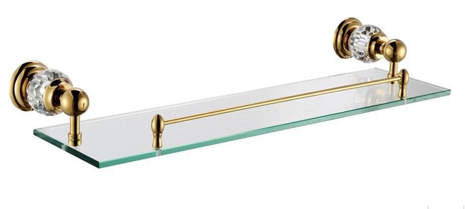 crystal u0026 brass golden plated glass shelf with builtin crystal single tier wall shelf