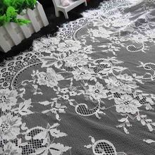 ZOTOONE Width 72cm Wedding Dress Lace Fabric Ribbon for Needlework Accessories White and Black French Flowers E