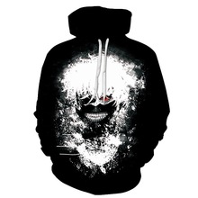 все цены на Funny Fashion Hoodies Men/Women 3D Sweatshirts Print Tokyo Ghoul Thin Hooded Hoodies Hoody Tops Streetwear