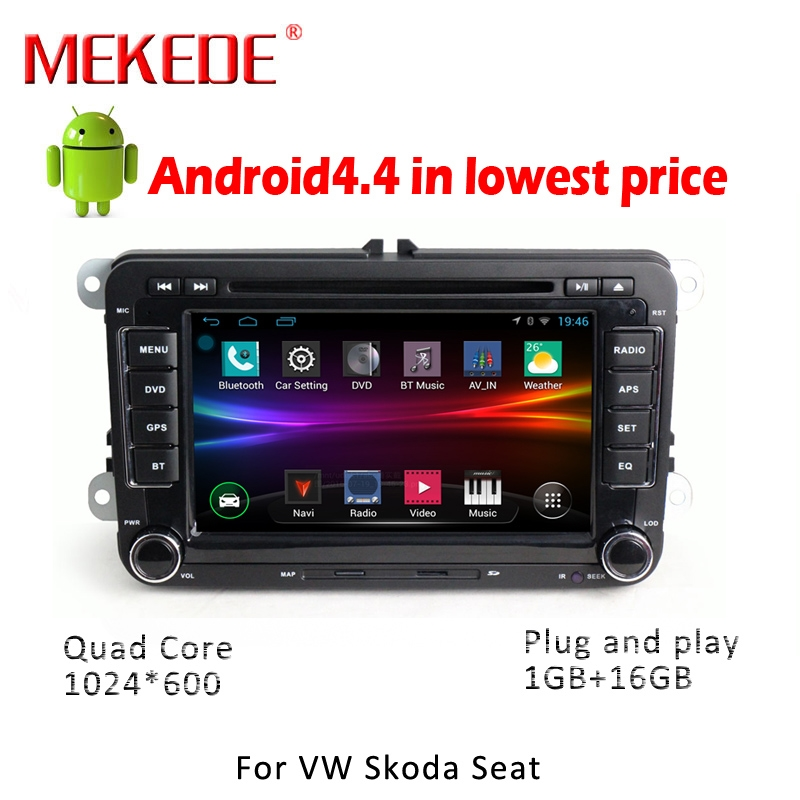 Android 4 4 4 Car DVD GPS Navigation 1024 600 Quad Core For VW Volkswagen Skoda