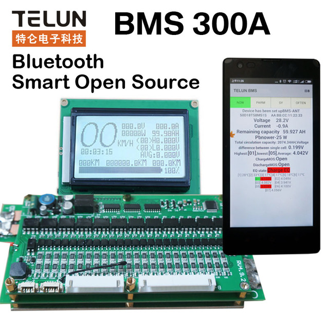 6S - 24S smart display 2.4V or 3.2V or 3.7V 300A lithium battery protection board balanced management system BMS Coulomb Counter