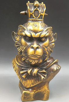 China brass hand-carved Monkey King head crafts statues
