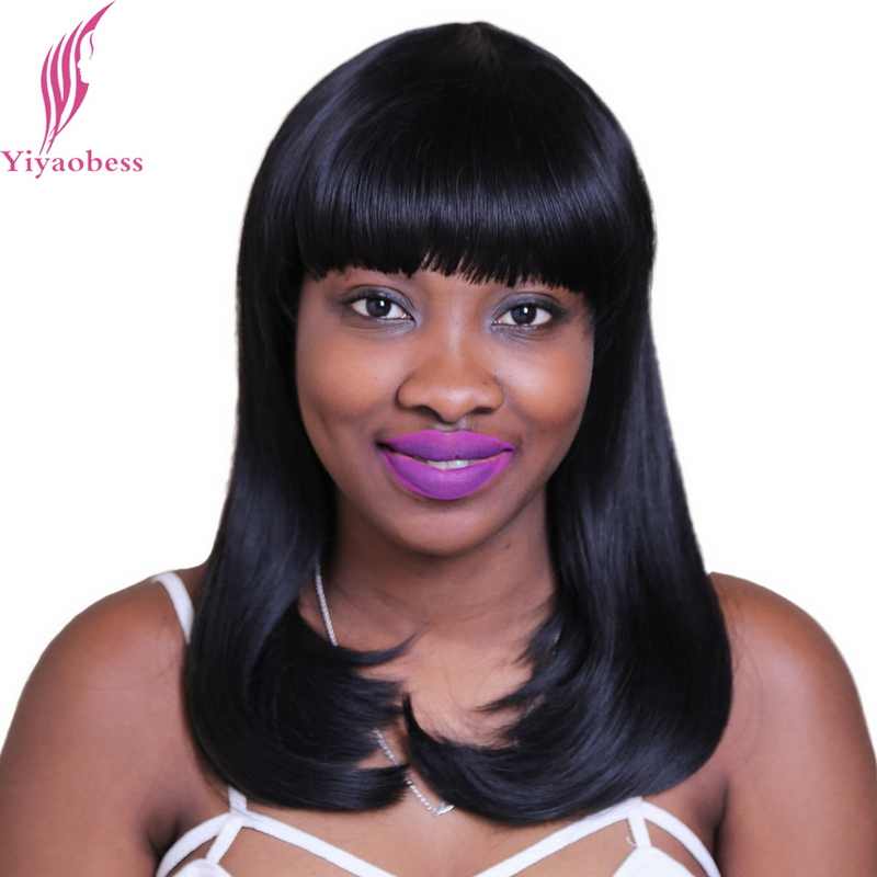 Yiyaobess 18inch Synthetic Straight Medium Long African American Bob Wigs For Women Black Brown Highlights On Hair With Bangs