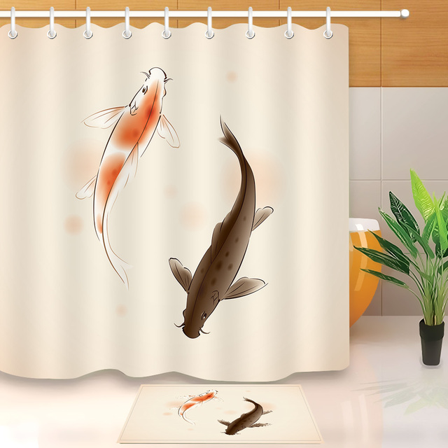 LB Long Fish Stall Shower Curtain Liner With Bath Mat Set Bathroom Curtains  Waterproof Polyester Fabric