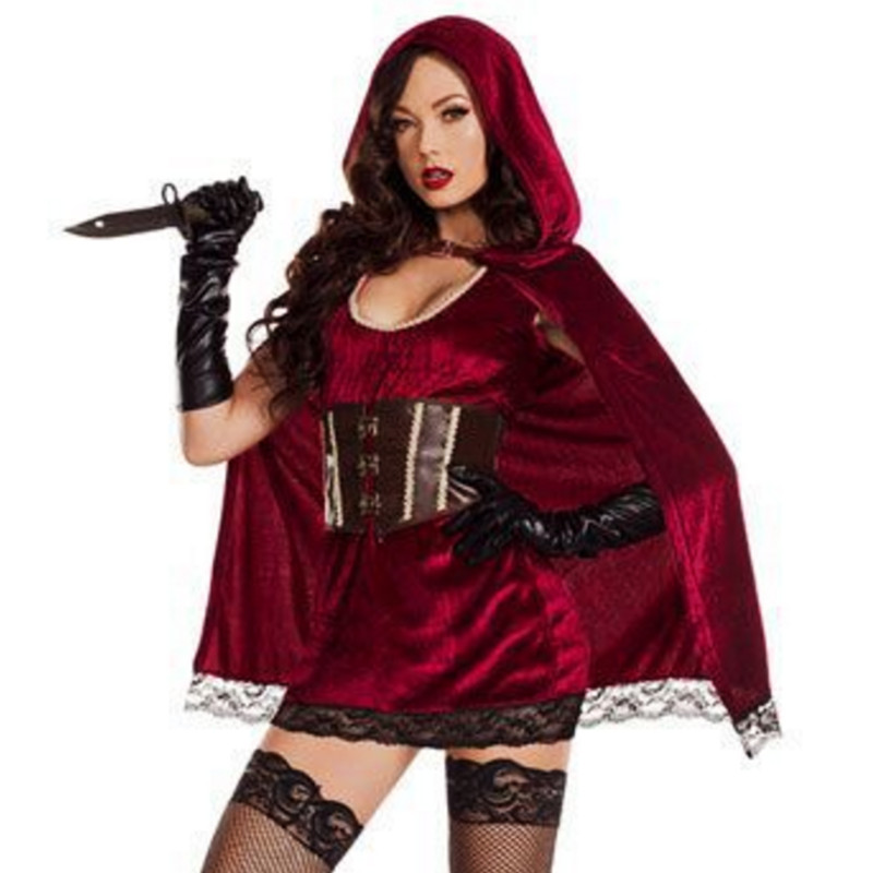 female adult fairy tale Little Red Riding Hood costume stage Female warrior vampire evil princess cosplay Dress Party Halloween