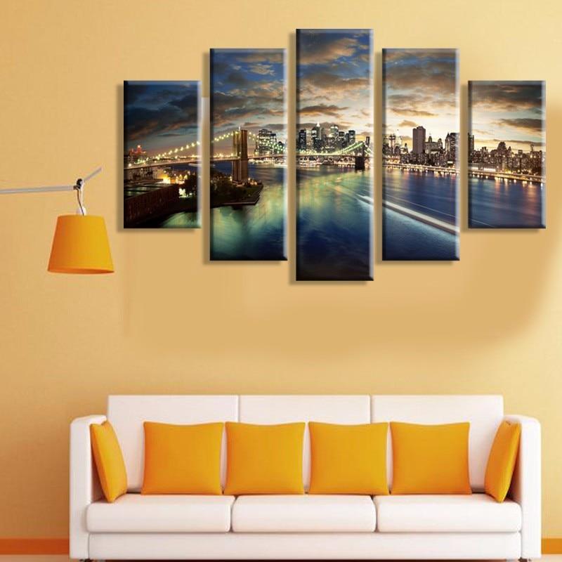"""5 plokščių """"Tall Bridge"""" aliejinė tapyba drobė, """"Wall - Namų dekoras - Nuotrauka 2"""