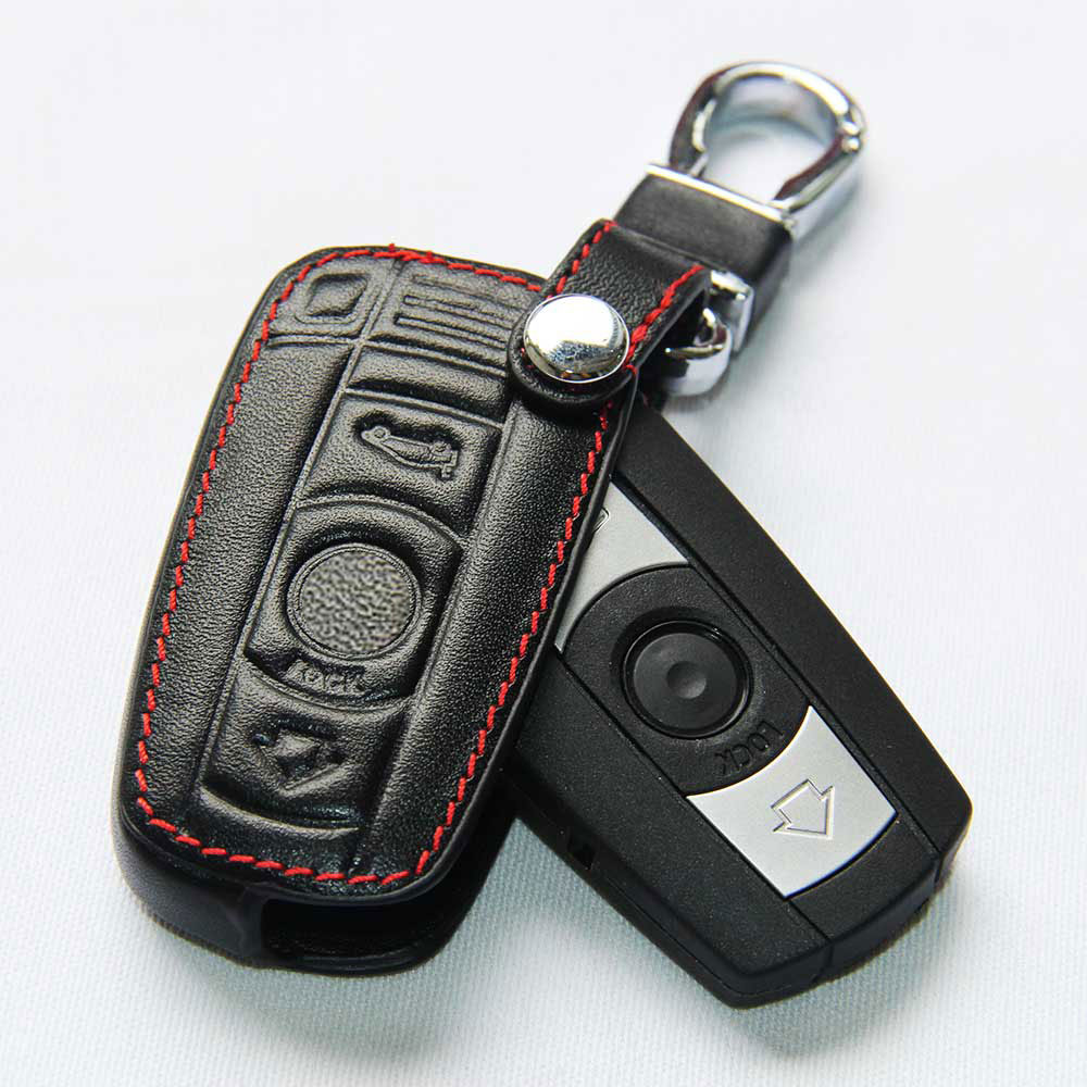 For Bmw Leather Case For Bmw E90 E30 E60 E34 E36 E38 E39 E46 118 220 M235 320 328 428 435 528 X1 X3 Chaveiro Black Key Cover