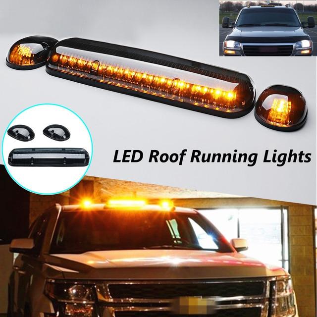 3pcs Smoke Cab Roof Running Amber Led Lights For Chevy Silverado Gmc Sierra 2002 2003