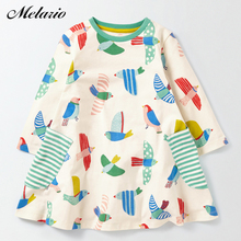 Melario Girls Dress 2017 Princess Dress Baby Girls Clothes Bird printing Long Sleeve Kids Tunic Jersey Dresses for Girls Clothes