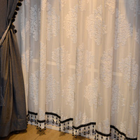 luxury European high precision high grade tulle voile curtain sheer curtain living room bedroom embroidered tulle E585