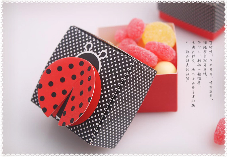 3-D Wing Ladybug Baby Shower Favor Box, Kid Birthday Party Favors And Gifts candy box 20pcs