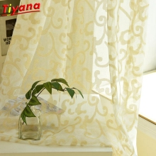 Golden Geometric Curtains for Living Room Modern Yarn Window Drapes Luxury Glitter WP173#30