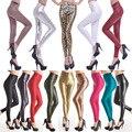 2017 Nueva Tendencia de La Moda de Imitación de Cuero Pantalones de Las Mujeres Femeninas Pantalones de Estilo Europeo Y Americano Delgado Sólido Mujeres Pantalones Flacos