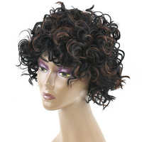 Soowee Curly Synthetic Hair Black Brown Cosplay Short Wigs Party Hair Wig for Black Women and Men Headwear Hair Accessories