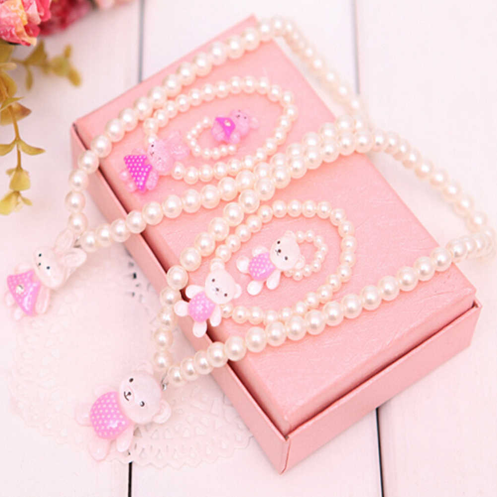 White Imitation Pearl Beads Bear Rabit Necklace Ring Bracelets For Kids Girls Children Send Randomly Jewelry Sets