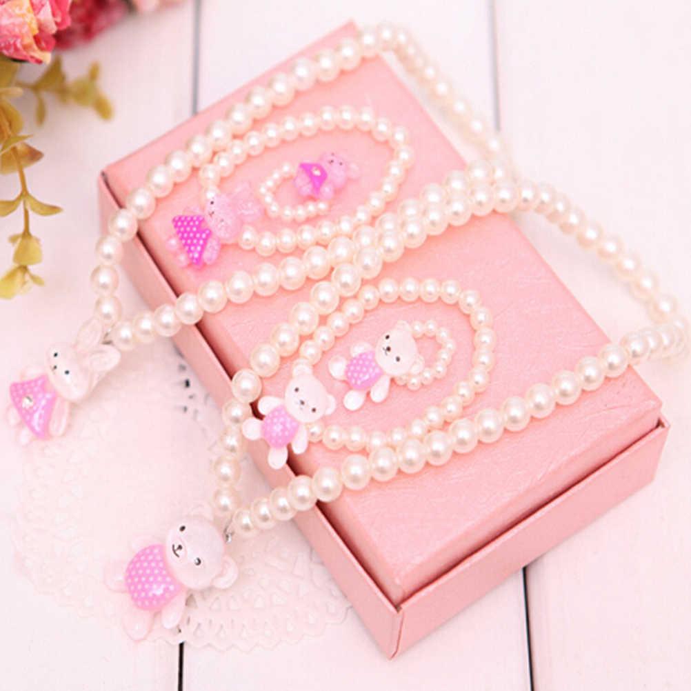 Imitacja białej perły koraliki niedźwiedź Rabit naszyjnik pierścień bransoletki dla dzieci dziewczyny dzieci wyślij losowo zestawy biżuterii