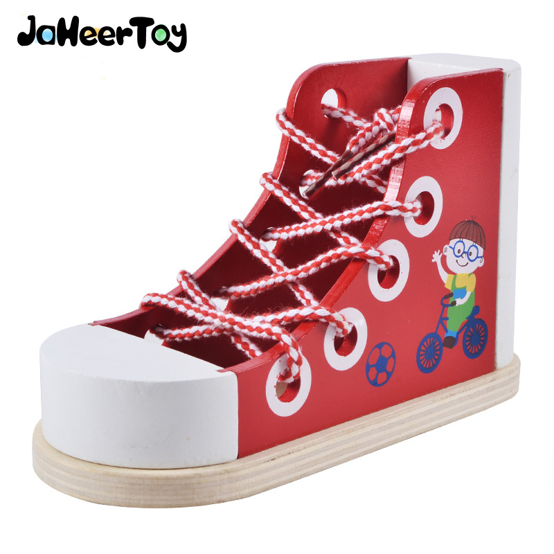 JaheerToy  Wooden Toys Montessori Teaching Aids Learning To Tie Shoelaces Children's Educational Toy For Kids Daily Life