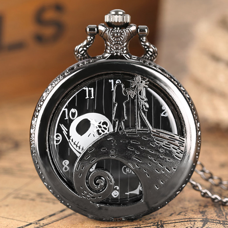 The Nightmare Before Christmas Jack Pendant For Male Female Kids Child Gifts Quartz Pocket Watch Wacky Watches Necklace Chain