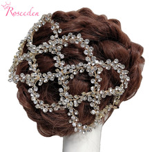 Antique Silver Gold Wedding Bridal Hair Vine Headband Full Rhinestones Floral Wedding Headpiece Hair Accessories Handmaid RE3284 недорого