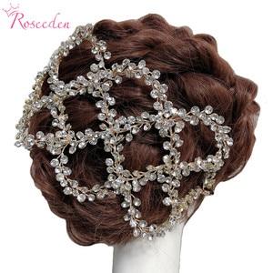 Image 1 - עתיק זהב כסף צבע חתונת כלה שיער גפן סרט מלא Rhinestones חתונת כיסוי ראש שיער אביזרי Handmaid RE3284