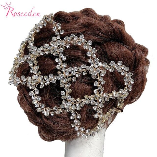 עתיק זהב כסף צבע חתונת כלה שיער גפן סרט מלא Rhinestones חתונת כיסוי ראש שיער אביזרי Handmaid RE3284