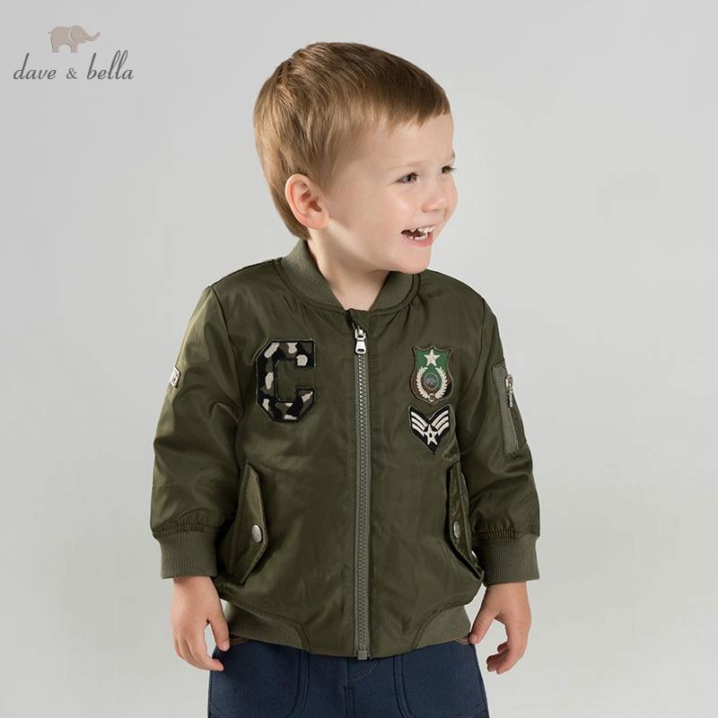 DBJ9161-1 dave bella autumn winter baby boys handsome jacket children fashion outerwear kids coat