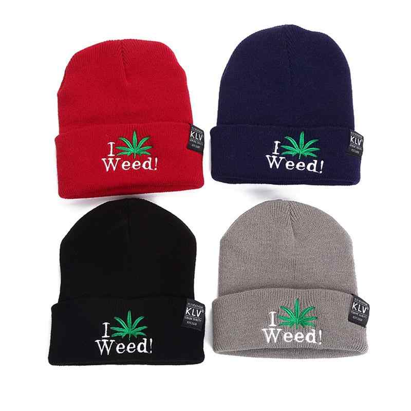 981d6829e New Men&Women Fashion Winter Hip Hop Warm Hat Simple Embroidered English  Letter&Leaf Beanie Hats Warm Knitting Woolen Cap