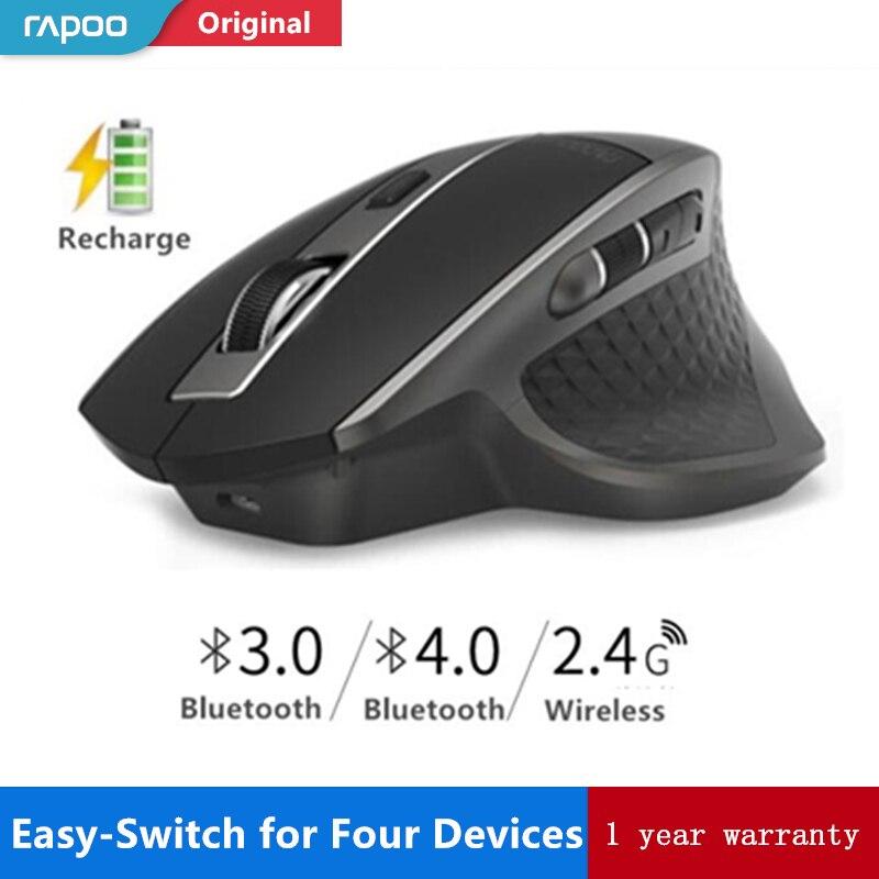 Rapoo MT750 Wiederaufladbare Multi-modus Drahtlose Maus Einfach-Schalter zwischen Bluetooth und 2,4g bis zu 4 Geräte für PC und Mac