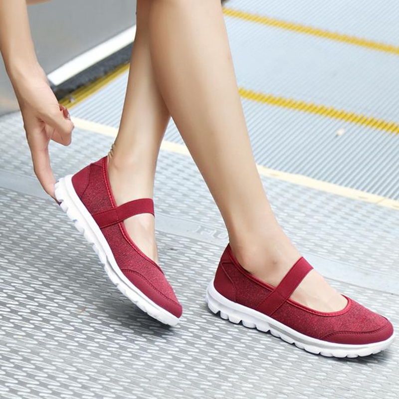 2018 Women Sports Shoes Autumn Summer Breathable Flats Moccasins walking Comfortable Shoes Sneakers 8h19