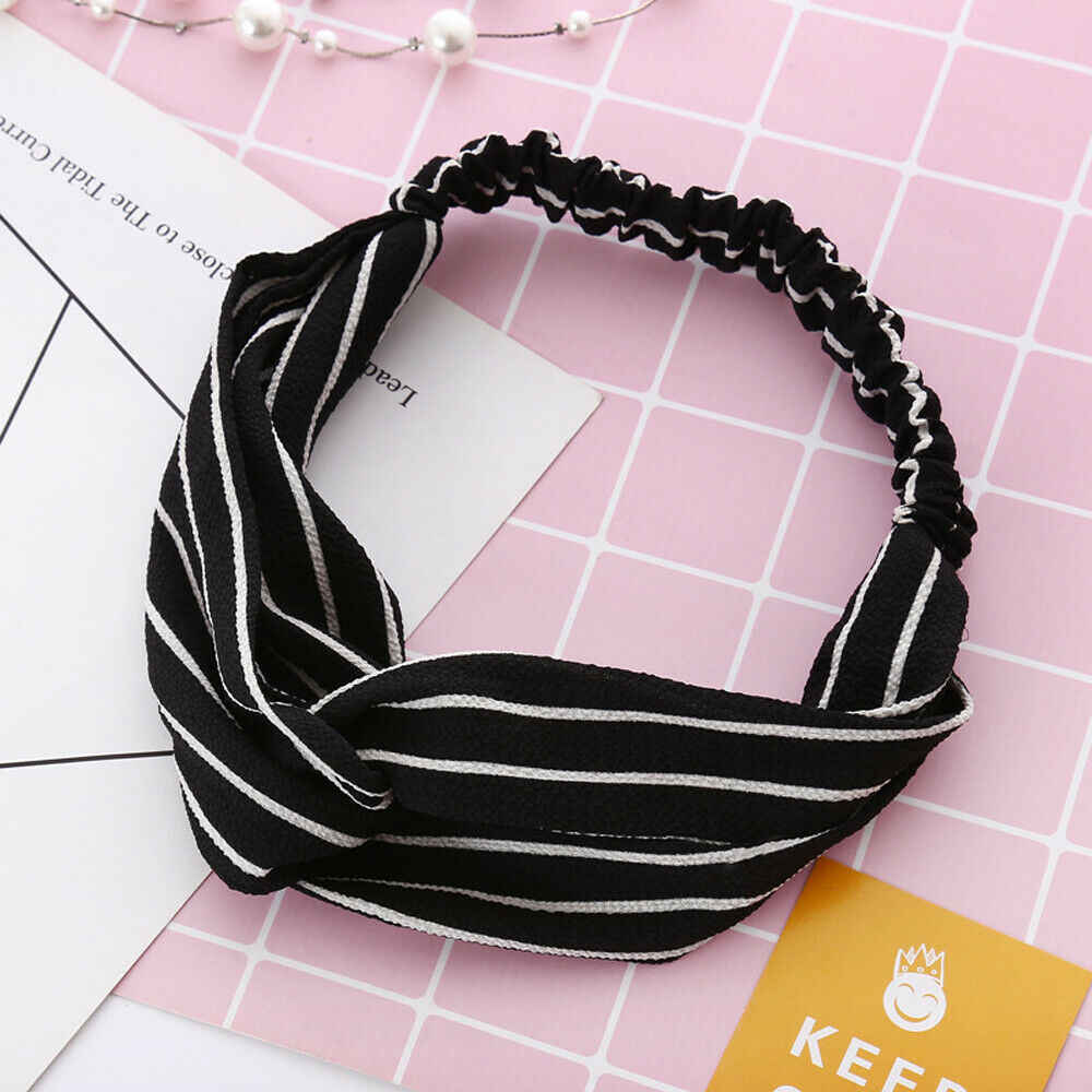 Women Girl Turban Stripe Elastic Head Wrap Headband Twisted Knotted Spa Hairband Headwear Black Pink Yellow Red