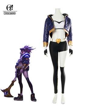 ROLECOS KDA Akali Cosplay Costume LOL AKALI Cosplay Costume LOL K/DA Women Outfit Coat Pants Gloves Bag Hallowen