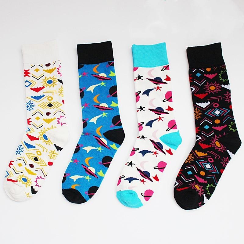Funny man socks women art man wear socks high quality combed cotton happy socks cosmic symbol pattern wedding gift dress sokken