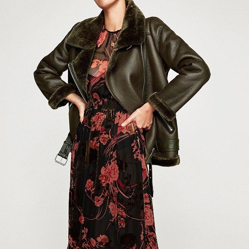 Autumn Women PU   Leather   Jacket Coat Casual Zipper Sashes Warm Coat Fashion Imitation Fur   Leather   Jacket