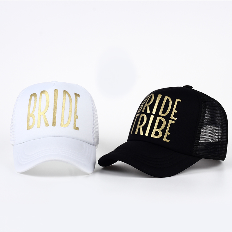BRIDE TRIBE Gold Print Mesh Women Wedding Baseball Cap Party Hat Brand Bachelor Club Team Snapback Caps Summer Beach Casquette