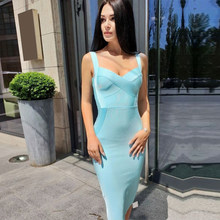 Adyce 2019 Nieuwe Vrouw Bandage Jurk Geel Wit Rood Blauw NudeBackless Club Jurk Sexy Celebrity Bodycon Club Party Dress Vestido(China)