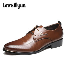 Brand new arrive mens soft leather shoes men's dress shoes British Style lace up Pointed toe flats 2 colors big size 37-46 AA-03