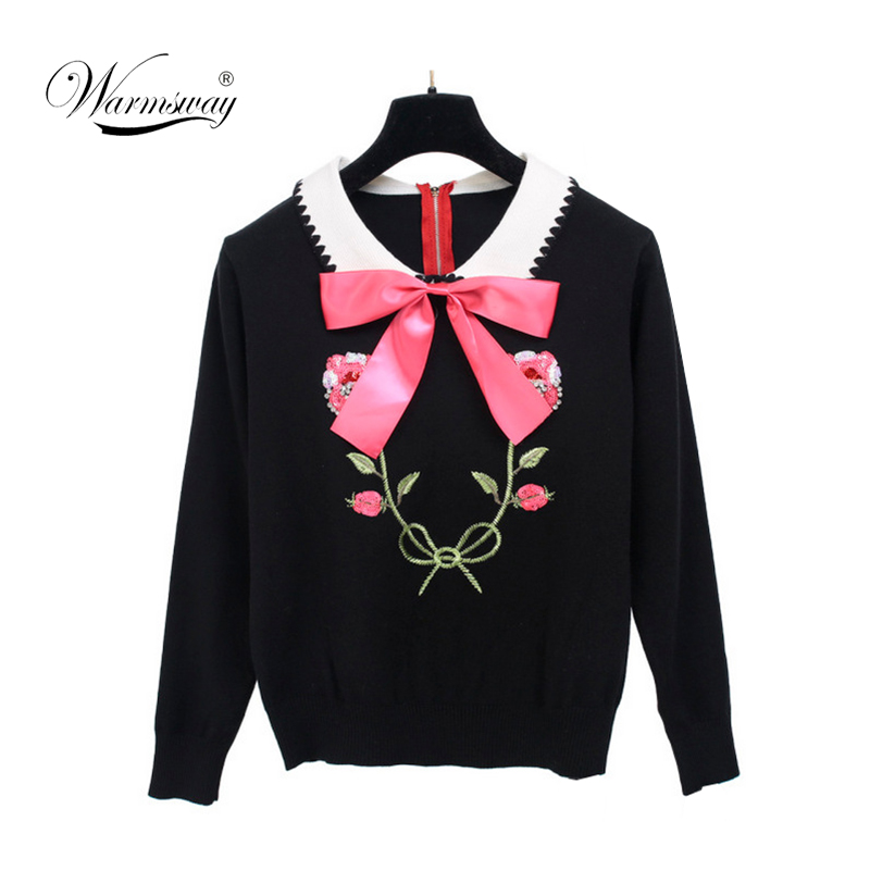 Women New Vintage Sweaters Beading Sequined Floral Pullovers Winter Autumn Knitted Retro Embroidery Bow Tops Blusas C-023