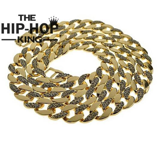 30 Iced-Out Half Stone Chain 15MM Miami Cuban Link CZ Gold Plated Hip Hop Necklace