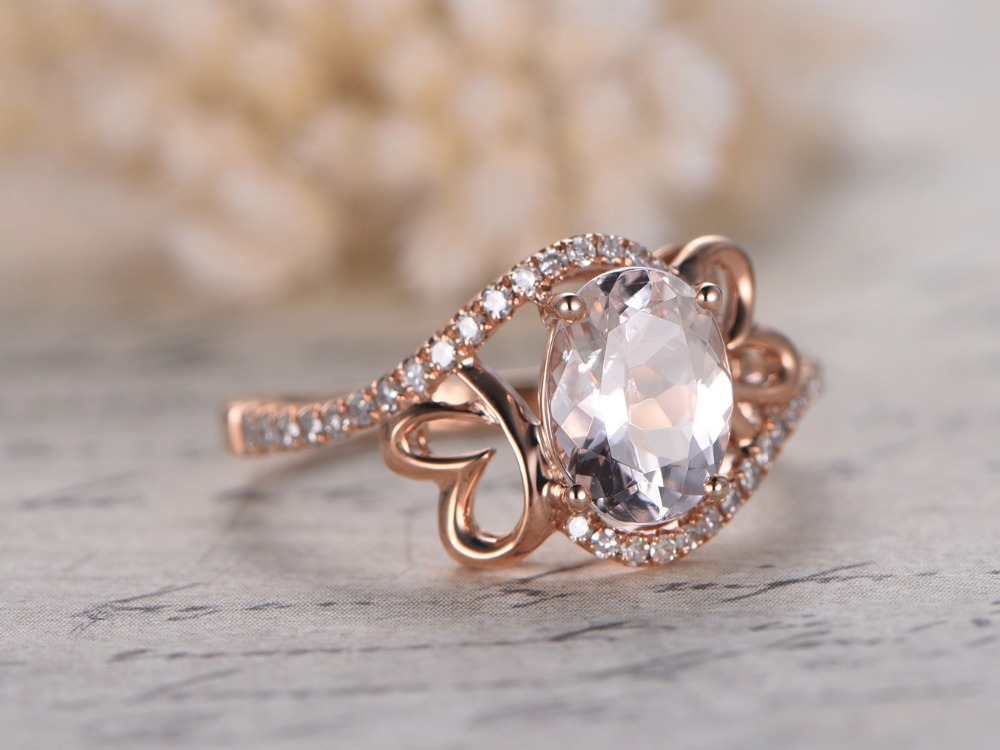 Myray Natural Pink Morganite 6x8mm Oval Gemstone Diamond Band Antique Vintage Wedding Ring Engagement Rings 14k Rose Gold Women In From Jewelry